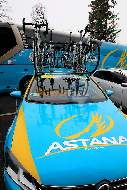 Astana Pro Team at the start of the 104th edition of the Milan-San Remo cycle race at Castello Sforzesco in Milan, 17th March 2013 (Photo by Eoin Clarke 2013)