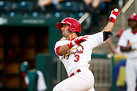 Jose Garcia (3) of the Springfield Cardinals follows through his swing during a game against the Tulsa Drillers at Hammons Field on July 18, 2011 in Springfield, Missouri. Tulsa defeated Springfield 13-8. (David Welker / Four Seam Images)