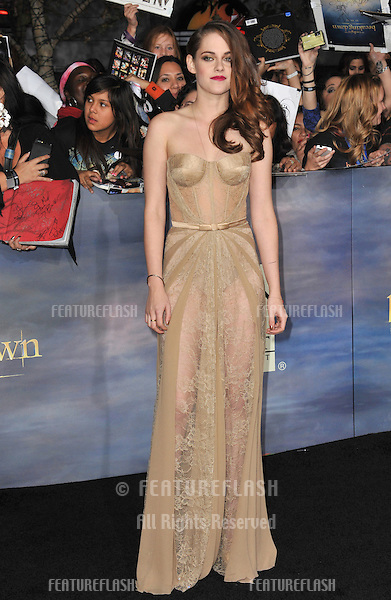 "Kristen Stewart at the world premiere of her movie ""The Twilight Saga: Breaking Dawn - Part 2"" at the Nokia Theatre LA Live..November 12, 2012  Los Angeles, CA.Picture: Paul Smith / Featureflash"