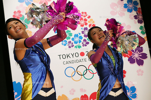 Public Viewing, SEPTEMBER 8, 2013 : Supporters of Tokyo bid team performed during the Public Viewing for 2020 Summer Olympic and Games at The Tokyo Chamber of Commerce and Industry hall (Tosho Hall), Tokyo Japan on Sunday September 8, 2013. (Photo by Yusuke Nakanishi/AFLO SPORT)