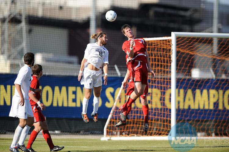 04 DEC 2010: Danny Thompson (15) of Messiah College goes for a header against Shawn Bender (18) of Lynchburg College during the Division III Men's Soccer Championship held at Blossom Soccer Stadium hosted by Trinity University in San Antonio, TX. Messiah defeated Lynchburg 2-1 in overtime for the national title. Brett Wilhelm/NCAA Photos