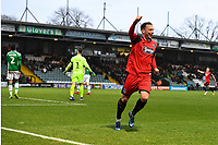 Kristian Dennis of Grimsby Town celebrates after scoring the third goal during  during Yeovil Town vs Grimsby Town, Sky Bet EFL League 2 Football at Huish Park on 9th February 2019