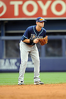 Tampa Bay Rays shortstop Reid Brignac #15 during a game against the New York Yankees at Yankee Stadium on September 21, 2011 in Bronx, NY.  Yankees defeated Rays 4-2.  Tomasso DeRosa/Four Seam Images