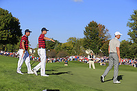 Patrick Reed &amp; Jordan Spieth (Team USA) on the 11th green during Saturday afternoon Fourball at the Ryder Cup, Hazeltine National Golf Club, Chaska, Minnesota, USA.  01/10/2016<br /> Picture: Golffile | Fran Caffrey<br /> <br /> <br /> All photo usage must carry mandatory copyright credit (&copy; Golffile | Fran Caffrey)