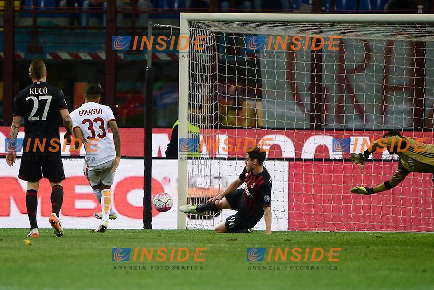 Gol di Emerson Palmieri dos Santos Roma 0-3. Celebration goal<br /> Milano 14-05-2016 Stadio Giuseppe Meazza - Football Calcio Serie A Milan - AS Roma. Foto Giuseppe Celeste / Insidefoto