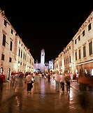 CROATIA, Dalmatian Coast, Dubrovnik, people walking on street at night