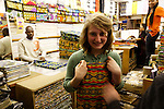 Model released for girl. African textile shop London
