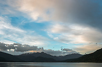 Dawn at Lake Kaniere, West Coast, South Westland, South Island, New Zealand, NZ