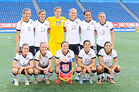 US Women's National team poses for a team photo before the International Friendly soccer match between the USA Women's National team and the Korea Republic Women's Team held at Gillette Stadium in Foxborough Massachusetts.   Eric Canha/CSM