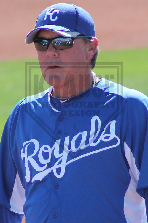 SURPRISE - March 2012: Ned Yost (3) of the Kansas City Royals during a Spring Training practice on March 16, 2012 at Surprise Recreation Campus in Surprise, Arizona. (Photo by Brad Krause).