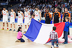 Real Madrid's players during the minute of silence in emembrance for the victims of the terrorist attack in Paris during Euroligue Basketball at Barclaycard Center in Madrid, November 18, 2015<br /> (ALTERPHOTOS/BorjaB.Hojas)