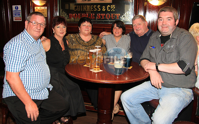Sean Mulkearns, Dolores Mulkearns, Anne Lynch, Tony Lynch, Natasha (visiting from Chernobyl) and Ben Kennedy in Darby O' Gills..Picture: Shane Maguire / www.newsfile.ie.