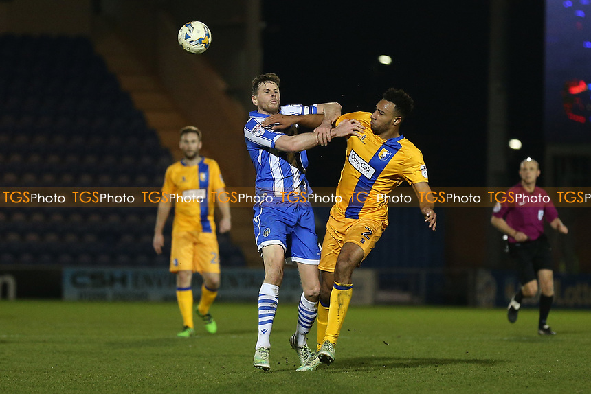 Rhys Bennett of Mansfield Town and Chris Porter of Colchester United during Colchester United vs Mansfield Town, Sky Bet EFL League 2 Football at the Weston Homes Community Stadium on 14th March 2017