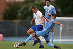 28 August 2016: North Carolina's David October (ENG) (right) pokes the ball away from Saint Louis's Noah Murphy (24). The University of North Carolina Tar Heels hosted the Saint Louis University Billikens at Fetter Field in Chapel Hill, North Carolina in a 2016 NCAA Division I Men's Soccer match. UNC won the game 3-0.