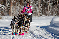 Bailey Schaeffer on the trail on the way to the finish of the 2018 Junior Iditarod in Willow, Alaska. Sunday February 25, 2018<br /> <br /> Photo by Jeff Schultz/SchultzPhoto.com  (C) 2018  ALL RIGHTS RESERVED