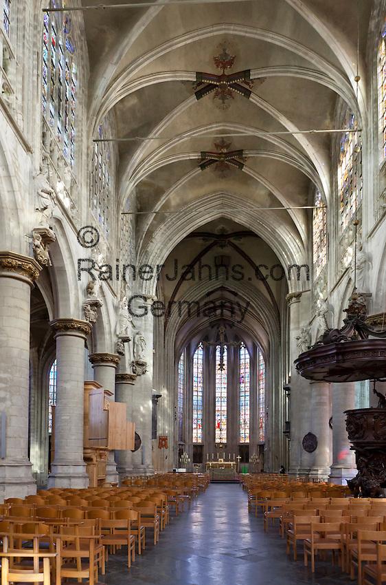 Belgium, Province Brabant, Brussels: Interior of the Eglise Notre-Dame du Sablon (15th -16th century) | Belgien, Provinz Brabant, Bruessel: Innenansicht der gotischen Kirche Notre Dame du Sablon