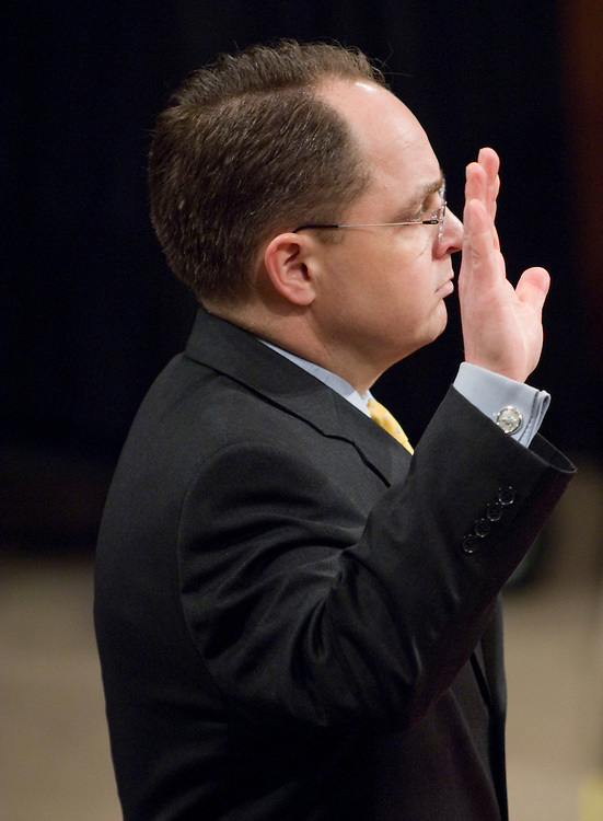 "Kyle Sampson, former chief of staff to Attorney General Alberto Gonzales, is sworn in before testifying during the Senate Judiciary Committee hearing on ""Preserving Prosecutorial Independence: Is the Department of Justice Politicizing the Hiring and Firing of U.S. Attorneys?"" on Capitol Hill, Thursday, March 29, 2007."