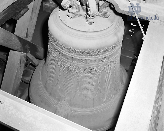 GPHR 45/2727:  Carillon bell in the Basilica of the Sacred Heart bell tower, c1956.  Image from the University of Notre Dame Archives.