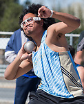 Reed's Vehekite Afu competes in the boys shot put during the Reed Sparks Rotary Invitational track and field event at Reed High School in Sparks, Saturday, April 1, 2017.