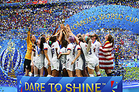Celebration Megan Rapinoe (USA) et victoire equipe (USA) avec trophee et sur le podium <br /> Lyon 07/07/2019<br /> Football Womens World Cup Final <br /> United States - Netherlands <br /> Photo  Gwendoline LeGoff / Panoramic/Insidefoto <br /> ITALY ONLY