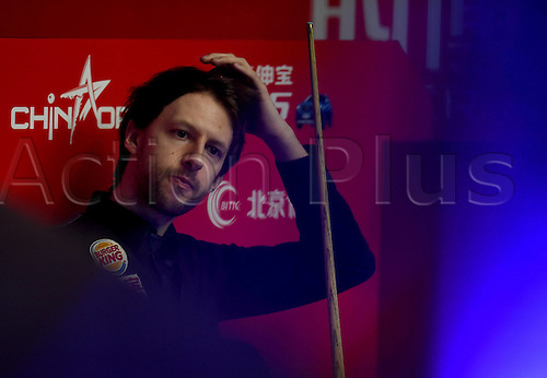 03.04.2016. Beijing, China.  Judd Trump of England reacts during the final of the 2016 World Snooker China Open Tournament against his compatriot Ricky Walden in Beijing,  China, April 3, 2016.