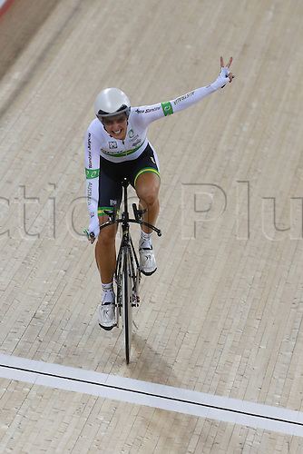 02.03.2016. Lee Valley Velo Centre, London, England. UCI Track Cycling World Championships Womens Individual Pursuit.  Rebecca Wiasak (AUS) takes gold as she crosses the line