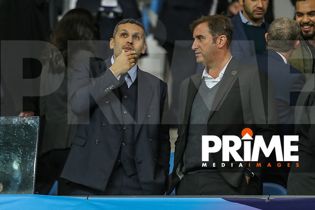 Manchester City chairman Khaldoon Al Mubarak and Ferran Soriano, Chief Executive Officer of Manchester City during the UEFA Champions League match between Manchester City and Olympique Lyonnais at the Etihad Stadium, Manchester, England on 19 September 2018. Photo by David Horn / PRiME Media Images.