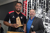 B's Red Most Improved Player of the Year Lepetimalo Lauese, with B's Red Assistant Coach Ray Mountfort. Counties Manukau Rugby Unions Senior Prize giving held at ECOLight Stadium Pukekohe on Wednesday November 2nd, 2016.<br /> Photo by Richard Spranger.