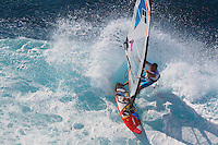Nicolas Cailly (FRA) windsurfing in Ho'okipa Beach Park (Maui, Hawaii, USA)