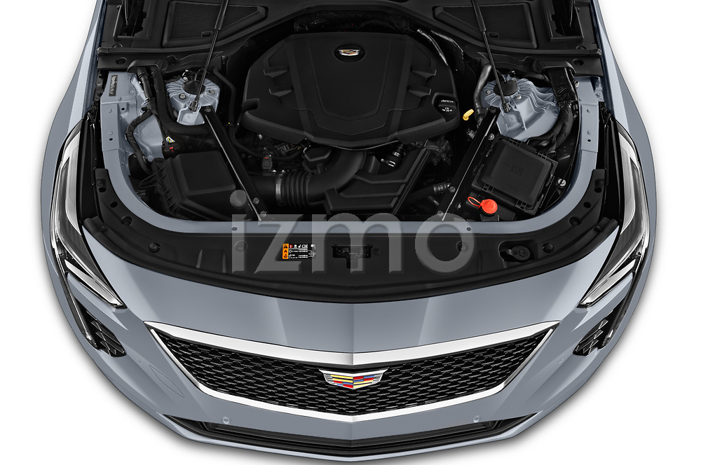 Car Stock 2019 Cadillac CT6 Premium-Luxury 4 Door Sedan Engine  high angle detail view