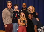 """Michael Park, Ben Levi Ross, Maia Reficco, Brandon Victor Dixon Rachel Bay Jones and Khamary Grant during the press rehearsal for Kennedy Center's Broadway Center Stage production of  """"Next To Normal""""  at The New 42nd Street Studios  on January 16, 2020 in New York City."""