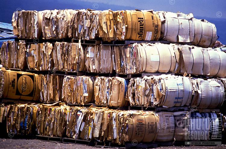 Stacks of bundled cardboard at a recycling center near Kona, Big Island of Hawaii.