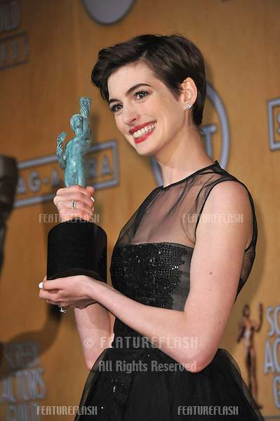 Anne Hathaway at the 19th Annual Screen Actors Guild Awards at the Shrine Auditorium, Los Angeles..January 27, 2013  Los Angeles, CA.Picture: Paul Smith / Featureflash