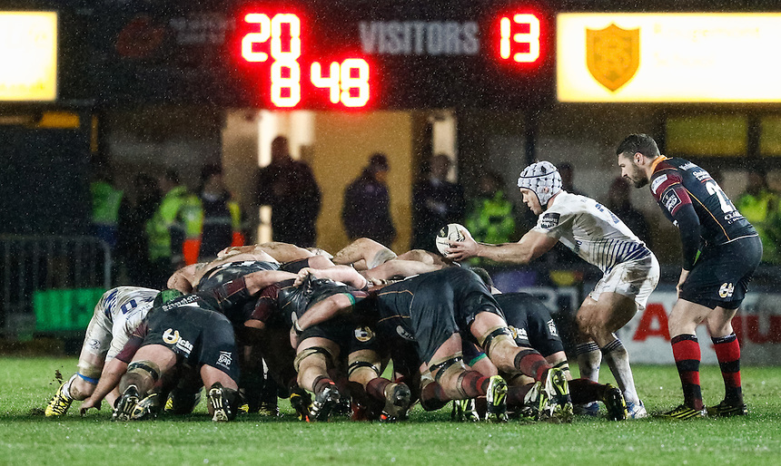 Leinster's Isaac Boss puts in at the scrum<br /> <br /> Photographer Simon KIng/CameraSport<br /> <br /> Rugby Union - Guinness PRO12 Round 13 - Newport Gwent Dragons v Leinster - Friday 29th January 2016 - Rodney Parade - Newport<br /> <br /> &copy; CameraSport - 43 Linden Ave. Countesthorpe. Leicester. England. LE8 5PG - Tel: +44 (0) 116 277 4147 - admin@camerasport.com - www.camerasport.com