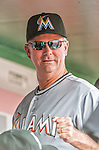 30 August 2015: Miami Marlins Manager Dan Jennings stands in the dugout prior to facing the Washington Nationals at Nationals Park in Washington, DC. The Nationals defeated the Marlins 7-4 in the third game of their 3-game weekend series. Mandatory Credit: Ed Wolfstein Photo *** RAW (NEF) Image File Available ***