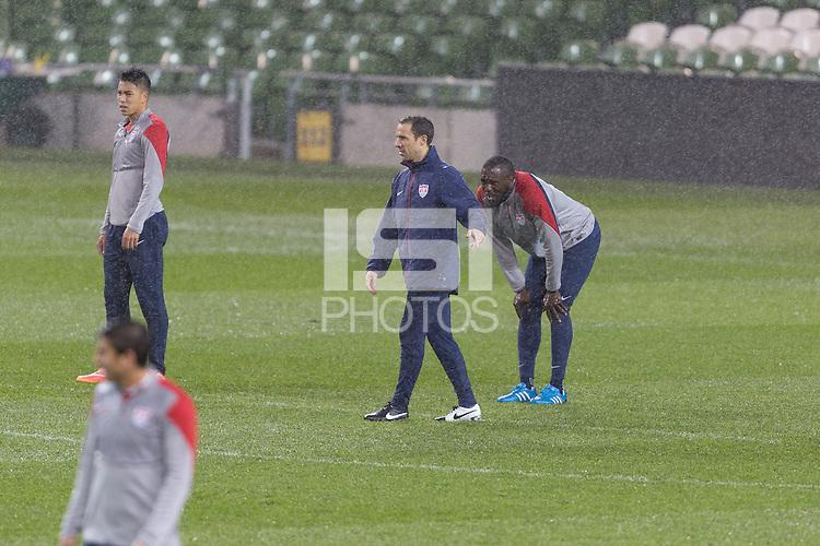 Dublin, Ireland - Monday, November 17, 2014: U.S. Men's National Team Training at Aviva Stadium.