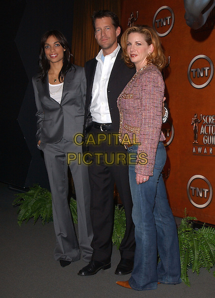 MELISSA GILBERT, JAMES DENTON & ROSARIO DAWSON.The 11th Annual Screen Actors Guild Award Nomination Announcements held at The Pacific Design Center in Los Angeles, California .January 11th,2005.full length, grey, gray suit, hand in pocket, pink tweed jacket.www.capitalpictures.com.sales@capitalpictures.com.Supplied By Capital PIctures