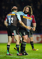 Adam Jones of Harlequins congratulates team-mate Nick Evans on his try. European Rugby Challenge Cup semi final, between Harlequins and Grenoble on April 22, 2016 at the Twickenham Stoop in London, England. Photo by: Patrick Khachfe / JMP