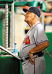 24 September 2010: Atlanta Braves Manager Bobby Cox watches his team from the dugout during play against the Washington Nationals at Nationals Park in Washington, DC. The Nationals defeated the Braves 8-3 to take the first game of their 3-game series. Mandatory Credit: Ed Wolfstein Photo