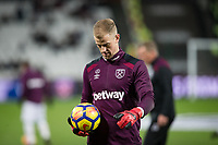 Goalkeeper Joe Hart of West Ham United ahead of the Premier League match between West Ham United and Arsenal at the Olympic Park, London, England on 13 December 2017. Photo by Andy Rowland.