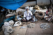 An elderly Kondh tribesman is seen selling dried fish during the annual festival in Lanjigarh, Orissa, India.