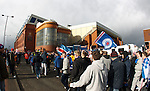 Thousands of Rangers fans protesting in Edmiston Drive outside Ibrox Stadium as they arrive from PRW