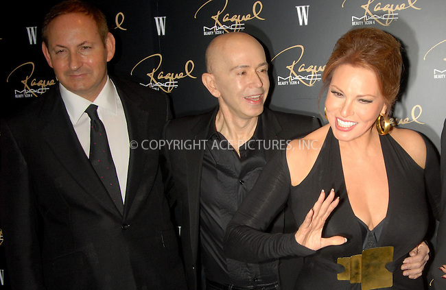 WWW.ACEPIXS.COM . . . . . ....January 17, 2007, New York City.....John Demsey, James Gager and Raquel Welch attend the MAC Cosmetics celebration to honor Raquel Welch as a Beauty Icon at Gilt the New York Palace Hotel.....Please byline: KRISTIN CALLAHAN - ACEPIXS.COM.. . . . . . ..Ace Pictures, Inc:  ..(212) 243-8787 or (646) 679 0430..e-mail: picturedesk@acepixs.com..web: http://www.acepixs.com