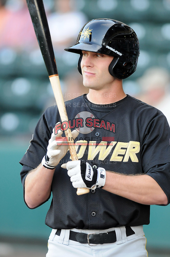 Outfielder David Rubenstein (15) of the West Virginia Power, Class A affiliate of the Pittsburgh Pirates, at a game against the Greenville Drive April 29, 2010, at Fluor Field at the West End in Greenville, S.C. Photo by: Tom Priddy/Four Seam Images