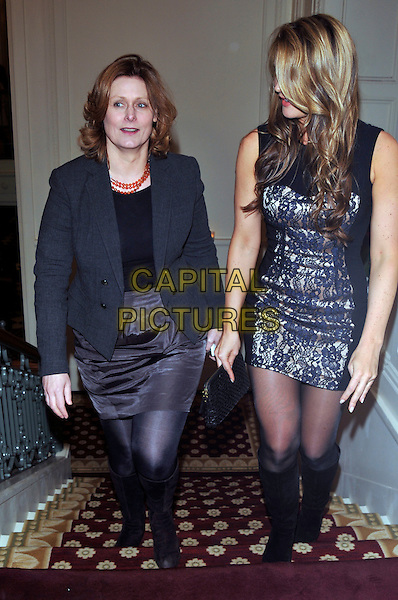 SARAH BROWN (L).attending the launch of 'Piers Morgan Tonight' on CNN at Mandarin Oriental Hyde Park, London, England, UK, December 7th, 2010..full length grey gray blazer jacket climbing stairs top black skirt tights .CAP/PL.©Phil Loftus/Capital Pictures.