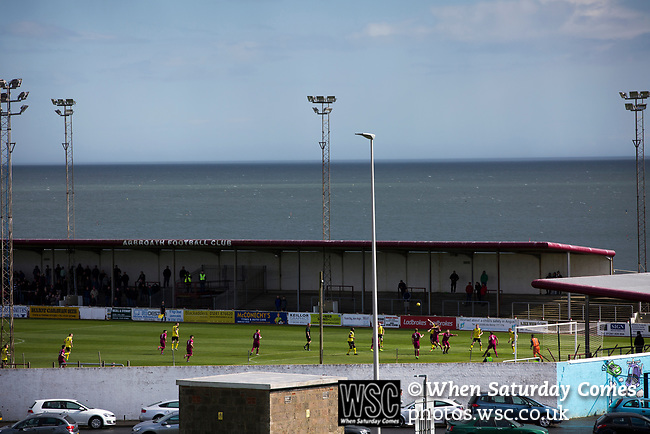 Arbroath 0 Edinburgh City 1, 15/03/2017. Gayfield Park, SPFL League 2. The away team press for the opening goal during the first-half at Gayfield Park as Arbroath hosted Edinburgh City (in yellow) in an SPFL League 2 fixture. The newly-promoted side from the Capital were looking to secure their place in SPFL League 2 after promotion from the Lowland League the previous season. They won the match 1-0 with an injury time goal watched by 775 spectators to keep them 4 points clear of bottom spot with three further games to play. Photo by Colin McPherson.