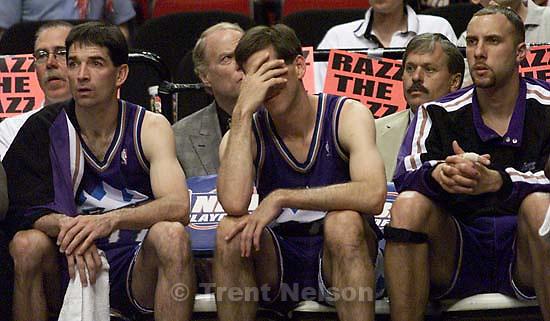 John Stockton, Jeff Hornacek, Greg Foster on the bench in the final twenty seconds at Jazz vs. Portland Blazers, game three, 2nd round, NBA Playoffs. Blazers won.<br />