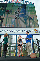 Stephanie Jenks is interviewed after winning the girls 1600-meters at the 2015 Kansas Relays in record time of 4:40. The first-place finish earned Jenks an automatic berth in the Adidas Grand Prix Dream Mile in New York City in June.