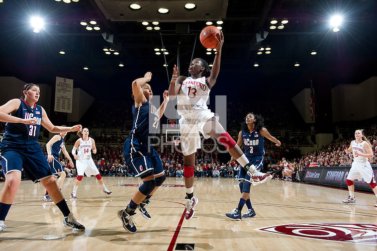 STANFORD CA-DECEMBER 30, 2010: Chiney Ogwumike drives to the basket during the Stanford 71-59 victory over UCONN at Maples Pavilion.
