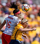 Utah Royals FC forward Elise Thorsnes (20) and Chicago Red Stars defender Samantha Johnson (16) vie for the ball in the second half Saturday, April 14, 2018, during the National Woman Soccer League game at Rio Tiinto Stadium in Sandy, Utah. (© 2018 Douglas C. Pizac)